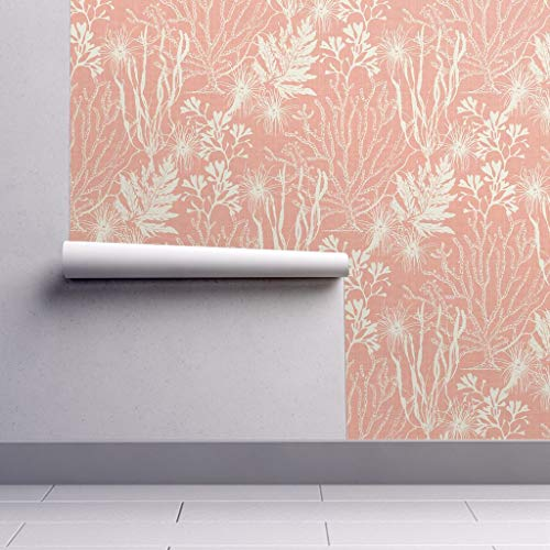 (Peel-and-Stick Removable Wallpaper - Seaweed Seaweed Coral Pink White Nautical Ocean Seaweed Ocean by Littlerhodydesign - 12in x 24in Woven Textured Peel-and-Stick Removable Wallpaper Test Swatch)