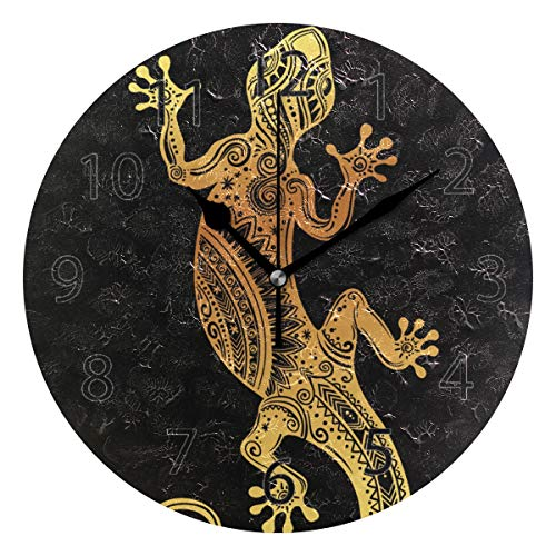 YATELI Wall Clock Shelf Round 10 Inch Diameter Animal Lizard Gecko Silent Decorative for Home Office Bedroom