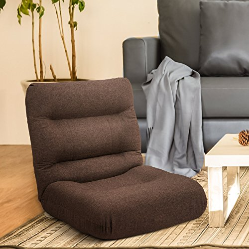 51AD4bQRvML - Harper-Bright-Designs-Adjustable-Floor-Sofa-Gaming-Chair-Lazy-Sofa-Folding-Chair-Cushion-Brown