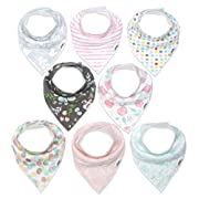 Baby Bandana Drool Bibs for Girls, 8-Pack Organic Absorbent Drooling & Teething Bib Set by Matimati  Rosy Mint