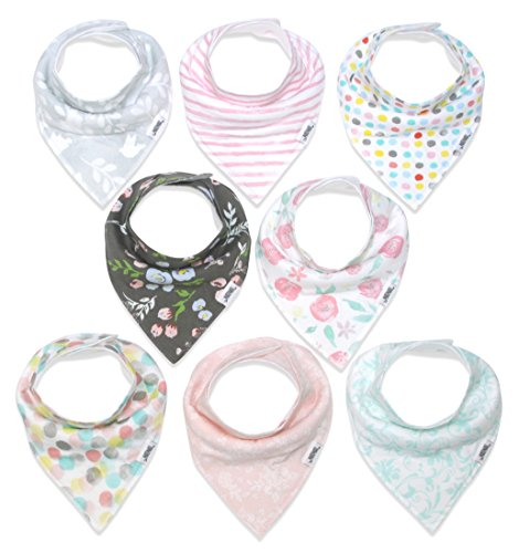Baby Bandana Drool Bibs for Girls, 8-Pack Organic Absorbent Drooling & Teething Bib Set by Matimati
