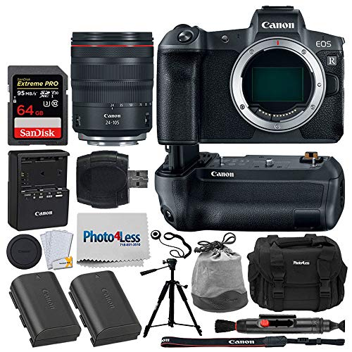 Canon EOS R Mirrorless Digital Camera + Canon RF 24-105mm f/4L is USM Lens + Canon BG-E22 Battery Grip for EOS R + Canon Battery Pack LP-E6N + 64GB Memory Card + Tripod + Photo4Less DC59 Case + More
