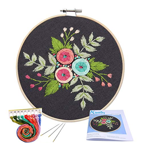 Floral Cross Kit - Full Range of Embroidery Starter Kit with Pattern, Kissbuty Cross Stitch Kit Including Embroidery Cloth with Floral Pattern, Bamboo Embroidery Hoop, Color Threads and Tools Kit (Black Flower)
