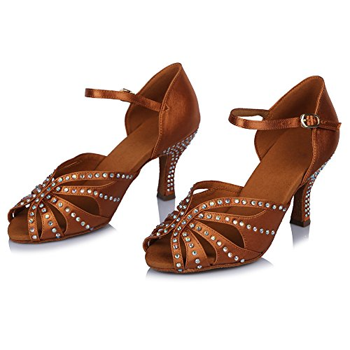 Brown with Roymall Tango AF43502 Women's Rhinestone Shoes Satin Shoes Salsa Dance Model US Latin 9 Ballroom 5 Performance KwRY54Yq