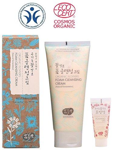 Whamisa Organic Flowers Foam Cleansing Cream 200ml - Naturally fermented, BDIH Certified (Extra Cream Foam)