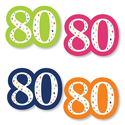 Big Dot of Happiness 80th Birthday - Cheerful Happy Birthday - DIY Shaped Colorful Eightieth Birthday Party Cut-Outs - 24 Count