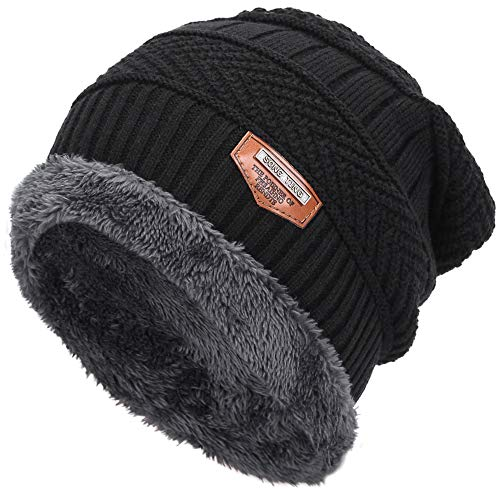 Mens Thick Warm Winter Fleece Lined Knit Beanie Hat Baggy Oversize Slouchy Stocking Beanie Skull Cap