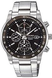 SEIKO SNDC99P1 Men's Chronograph,Stainless Steel Case & Bracelet,Black Dial,100m WR,SNDC99