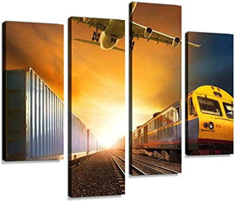 Railroad Track Canvas Wall Art Hanging Paintings Modern Artwork Abstract Picture Prints Home Decoration Gift Unique Designed Framed 4 Panel
