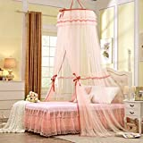 Largest Double Lace Bed Canopy Mosquito Net Keeps Insects Mosquitoes Flies Away Bedroom Decoration Dome Princess Room Tent, Yellow Light Blue Pink