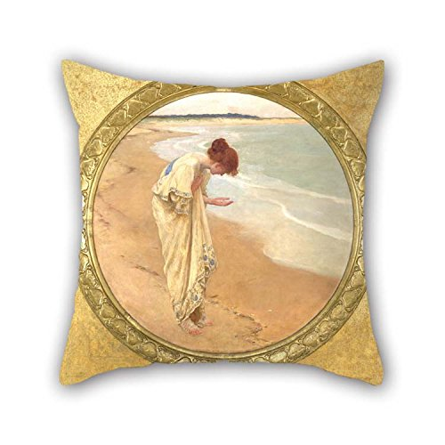 Oil Painting William Margetson - The Sea Hath Its Pearls Throw Pillow Case 18 X 18 Inches / 45 By 45 Cm Gift Or Decor For Play Room Pub Bedroom Relatives Bedroom Chair - Each Side