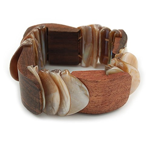 Stretch Bracelet Shell - Avalaya Unique Natural Sea Shell and Brown Wood Stretch Bracelet - 18cm L