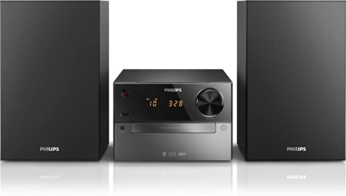 Philips BTM2310 - Microcadena con Bluetooth (puerto USB para carga, CDS, USB, FM), color negro