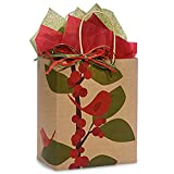 Red Bird Berries Paper Shopping Bags - Cub Size - 8in. X 4.75in. X 10.25in. - 200 Pieces