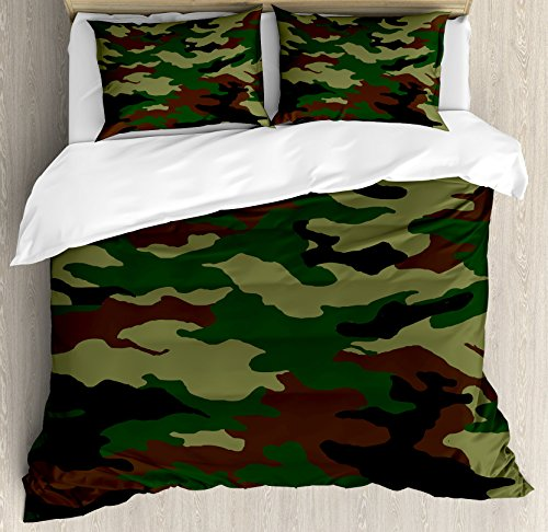 - Ambesonne Camo Queen Size Duvet Cover Set, Fashionable Graphic Uniform Inspired Camouflage Clothing Design, Decorative 3 Piece Bedding Set with 2 Pillow Shams, Forest Green Pale Green Brown