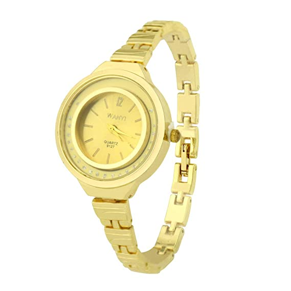 Amazon.com: Pengy Women Bracelet Gold Watch Fashion Analog Quartz Golden Watch Lady Movement Wrist Watch: Watches