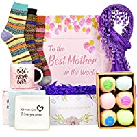 Best Birthday Gift for Mom. Includes: Set Of 6 Bath Bombs, Ring Holders For Jewelry, Best Mom Coffee Mug, Warm Socks And Women Scarf. Gifts For Mom From Daughter Or Son on Mother's Day.