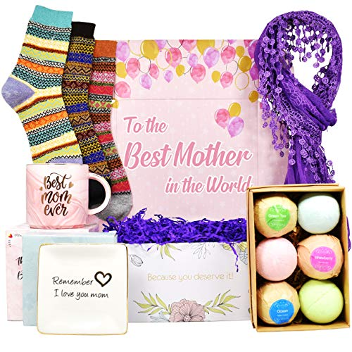 GIFT BOX - Birthday gifts for mom that INCLUDES: Set of 6 Bath bombs, Ring Holders for Jewelry, Best Mom Coffee Mug, Warm Socks and Women Scarf. The BEST Mom birthday gifts and the BEST gifts for Mom. (Best Kitchen Gifts For Mom)