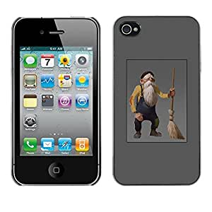 All Phone Most Case / Hard PC Metal piece Shell Slim Cover Protective Case for Apple Iphone 4 / 4S Old Man Dwarf Gnome Grey Beard Broom