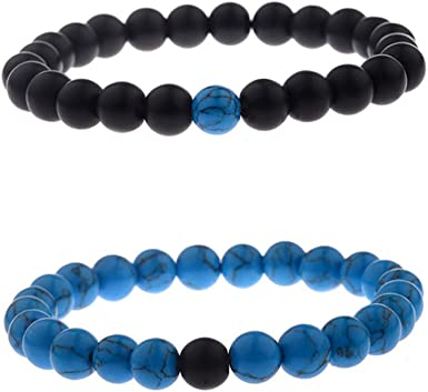 Love Friendship Blue Gemstone and White Glass Beads Memory Wire Bracelet Distance