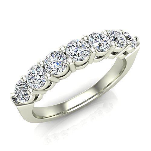 7 Stone Wedding Band Ring Stackable 14K White Gold Finish CZ (Ring Size 7) by Glitz Design