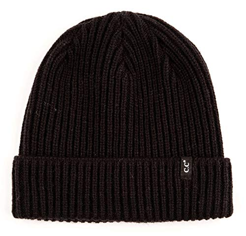 (MH-100-806 Mens Beanie Classic Warm Knit Hat Cuffed Skull Cap - Ribbed - Black )