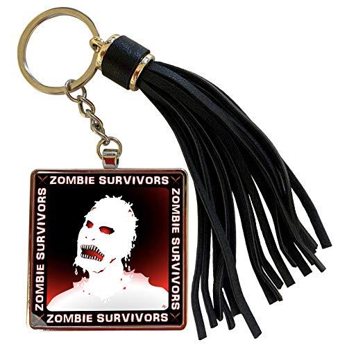 3dRose Mark Grace ZOMBIE SURVIVORS Zombies - ZOMBIES white zombie 2 on black - Tassel Key Chain (tkc_25583_1)