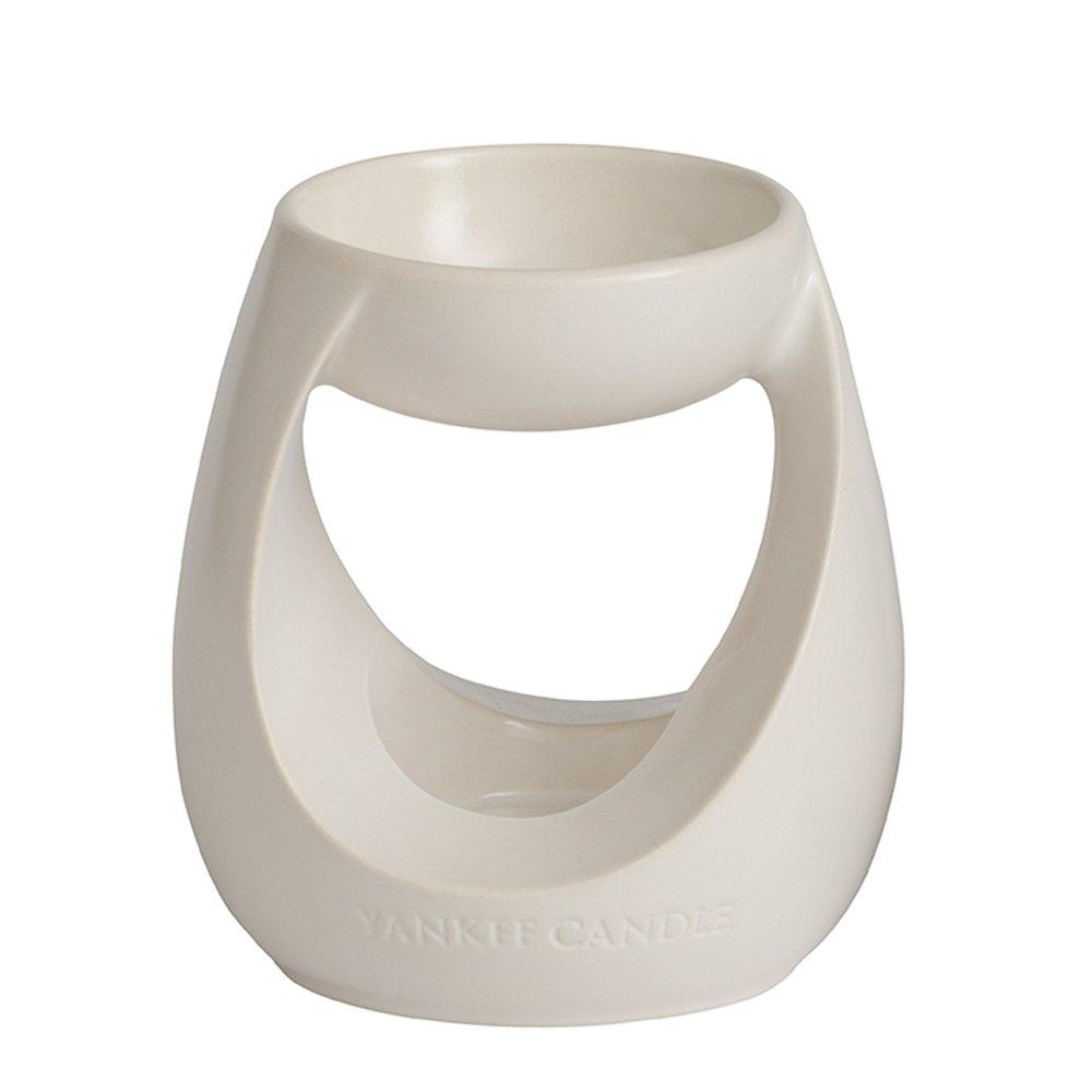 YANKEE CANDLE 1317189 Turning Stone Bruciatore per Tart, Ceramica, Bianco, 11.8x11.8x13.4 cm