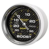 Auto Meter AutoMeter 200775-40 Gauge, Vac/Boost, 2 5/8'', 30Inhg-30Psi, Mechanical, Marine Carbon Fiber