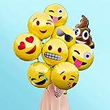 WunWun-Reusable-Emoji-Mylar-Party-Balloons-Variety-Set-of-12-18-Helium-Emoji-Balloons-Perfect-Emoji-Face-Foil-Balloons-for-Birthday-Decorations-Unique-Yellow-Emoji-Decorations-for-any-Party