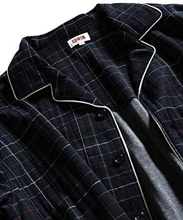 サカゼン EDWIN 大きいサイズ メンズ チェック柄 キルト 長袖 長ズボン ニット パジャマ 上下セット
