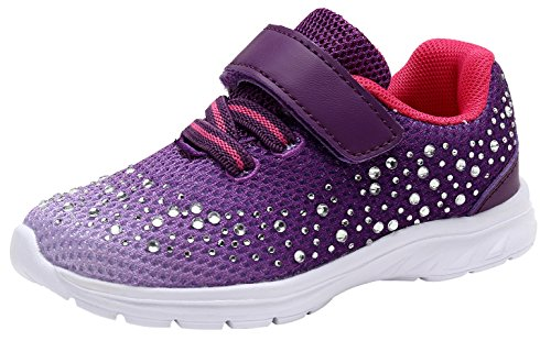 G GEERS Kids Girl's Fashion Sneakers Casual Sports Shoes (7 M US Toddler,Purple) (Girls Purple Tennis Shoes)