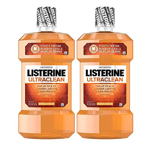 (Ultraclean Oral Care Antiseptic Mouthwash with Everfresh Technology to Help Fight Bad Breath, Gingivitis, Plaque and Tartar, Fresh Citrus, 1 l (2 Pack))