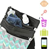 Mom's Favorite Stroller Organizer with cup holders | Stroller handlebar console | Baby Stroller Accessories | Stroller cup holder