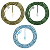 DLAND [3-Pack] 3 Colors Fashion Fishnet Braided Nylon Micro USB Cable USB Charge Data Charge Micro USB to USB, 6.5 feet(2.0 Meters) -Tangle Free Heavy Duty Charger Cable Cord for Samsung, HTC, Motorola, Nexus, Nokia, LG, HP, Sony, Blackberry and Many More [Green,Blue,Yellow]