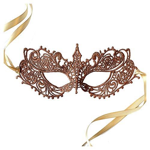 Samantha Peach Gorgeous Rose Gold Copper Goddess Lace Masquerade Mask