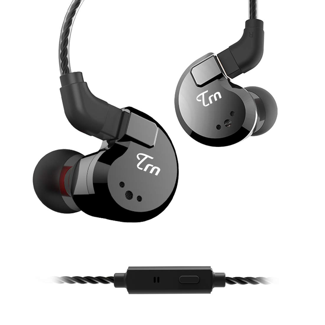 TRN V80 HiFi Earphone, Stage Studio in Ear Monitor, 2 Dynamic 2 Balanced Armature Driver Stereo Bass IEM, Metal in Ear Headphone with Detachable 2 Pin Cable Black with Mic