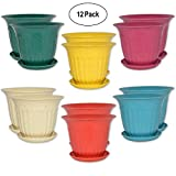12 Round Garden Flower Pots Decorative 4'' Seed Starting Planters with Saucers Biodegradable Bamboo Fiber Assorted Colors for Indoor Outdoor Home Nurseries Living Room Table Floor Deck Patio Lawn Decor