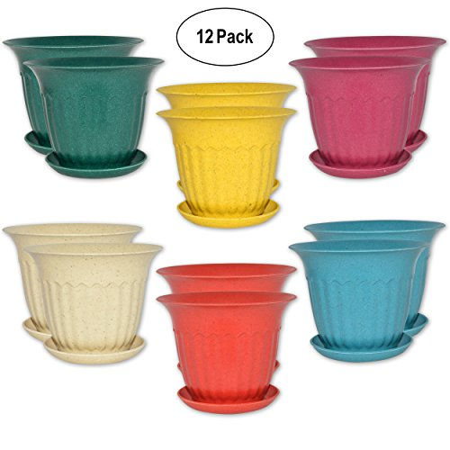 - 12 Round Garden Flower Pots Decorative 4