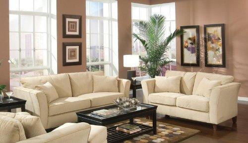 2pc Sofa & Loveseat Set Cream Velvet Fabric