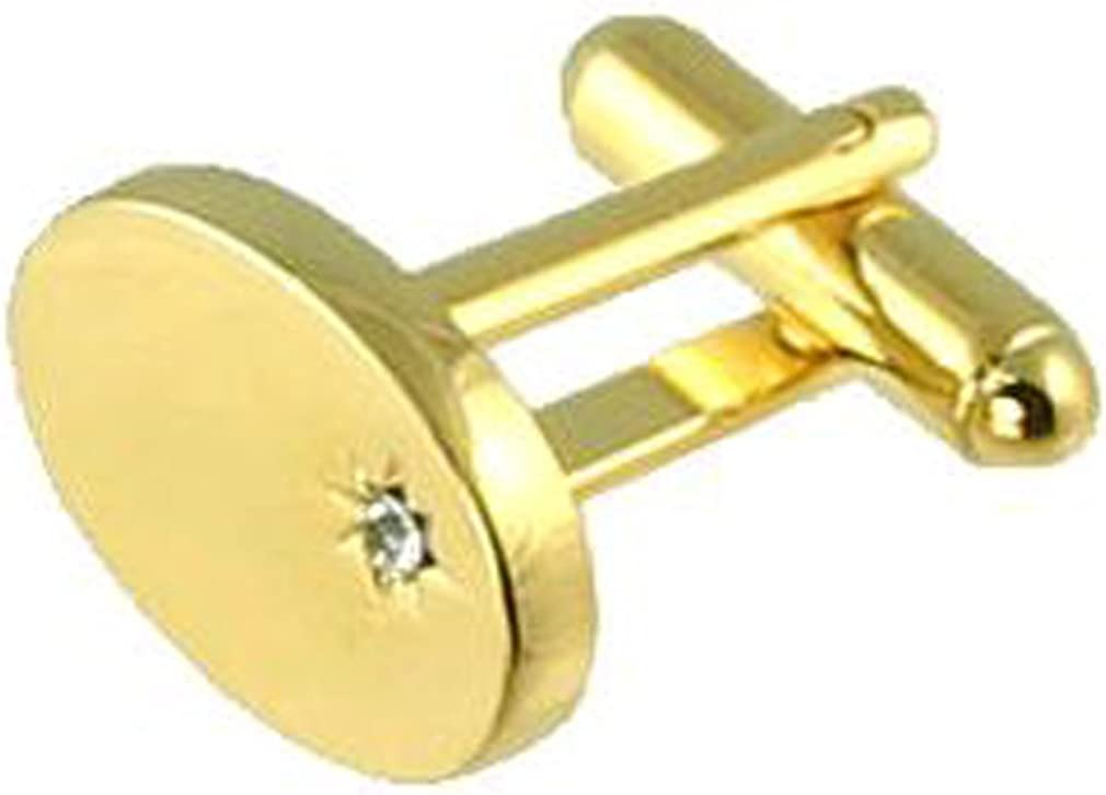Select Gifts Pair Gold-Tone Oval /& Cubic Zirconia Cufflinks Optional Engraved Personalised Box