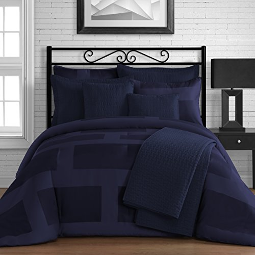 King & Queen Home Modern Frame Microfiber Lacquer 5 Piece Comforter Set (Queen, Navy Blue) (Blue Lacquer)