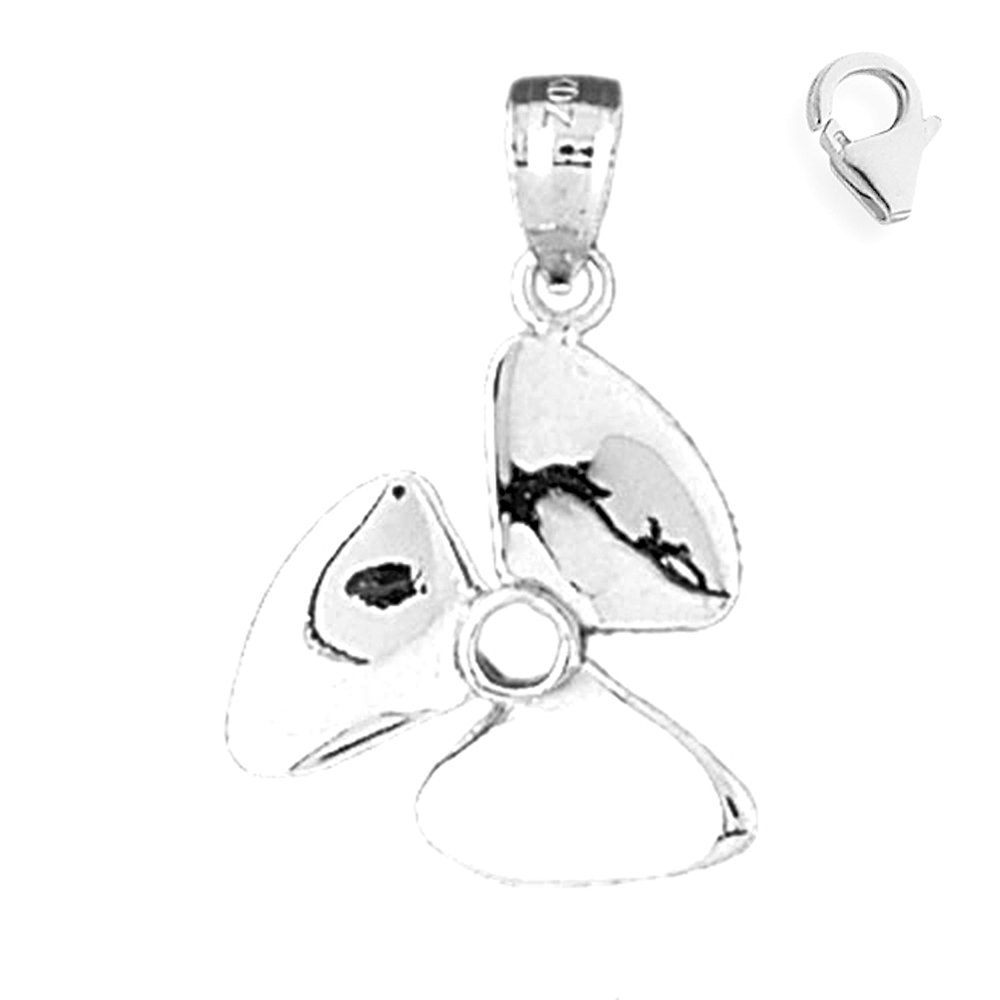 Sterling Silver 27mm Propeller with 7.5 Charm Bracelet Jewels Obsession Propeller Pendant