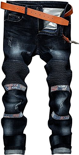 YTD Mens Distressed Ripped Biker Slim Jeans Stretched Moto Denim Pants