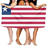 Beach Towel Flag Of Liberia 80'' X 130'' Soft Lightweight Absorbent For Bath Swimming Pool Yoga Pilates Picnic Blanket Towels
