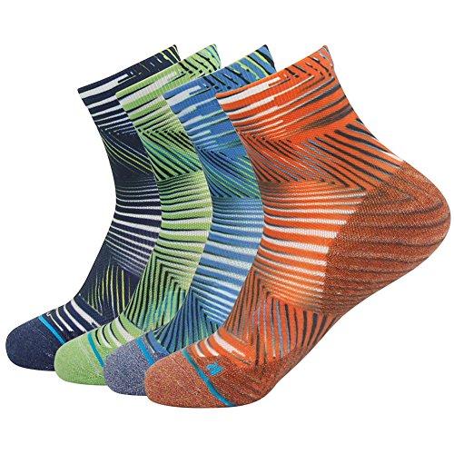 HUSO Men's Digital Printing Essential Seamless Ultralight Quick Wicking Socks For Hiking Running 4 Pack - Socks Ultralight Trail