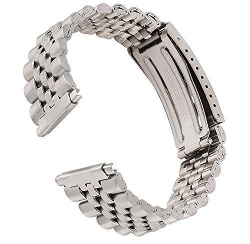 (16-22mm Kreisler Rolex Type Center Clasp Metal Watch Band Stainless Steel Silver)