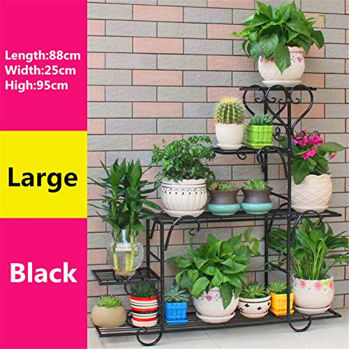 RYFS Multi-Layer Wrought Iron Flower Stand,Living Room Balcony Floor-Standing Flower Shelves Flower Pot Rack Plant Stand-H 88x25x95cm(35x10x37inch)