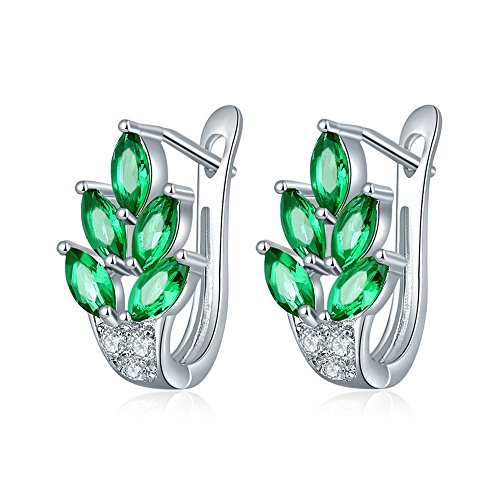 Uloveido Graceful Marquise Cut Cubic Zirconia Green Leaf Clip Pierced Drop Earrings Platinum Plated for Women Girlfriend Gift Y337