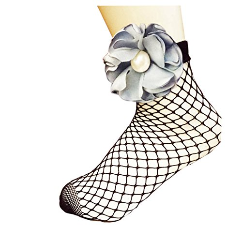 Women Fishnet Socks, Inkach Stylish Girls Summer Soft Lace Fishnet Mesh with Pearl Flower Short Socks Net Gray